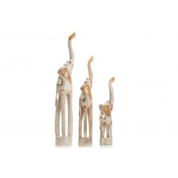 Set of 3 Whitewash Elephants