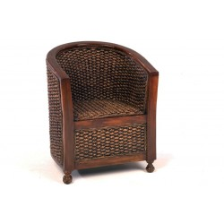 Water Hyacinth Tub Chair with Wooden Arms