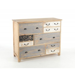 Distressed Painted Long Chest of Drawers