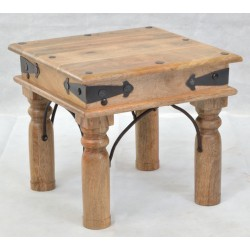 Country Lamp Table made from solid mango wood with a light wood finish and rustic nails and banding