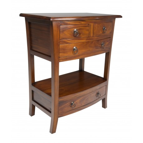 Pacific Telephone Table made from solid mahogany with two drawers over single larger drawer and lower drawer