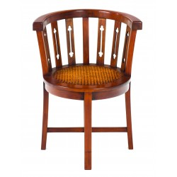 Solid Mahogany Rattan Tub Chair with a polished finish and rattan seat, back is curved round the seat with carved supports
