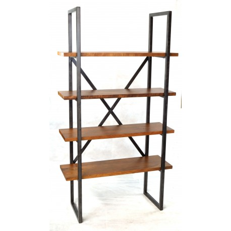 4 Shelf Bookcase with solid mango wood plank shelves and braced metal legs and supports