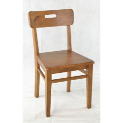 Solid mango wood dining chair with a solid seat and simple handle in the single slat back