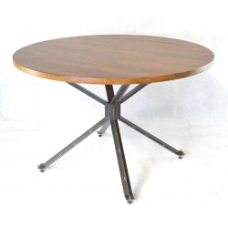 Round Dining Table with a solid mango wood top in a tallow colour on braced metal legs