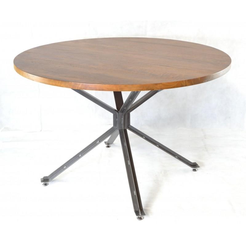 brace metal round dining table