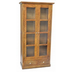 Solid mango wood bookcase style cabinet with 2 doors with glass panels and 2 low drawers all finished in a high polish