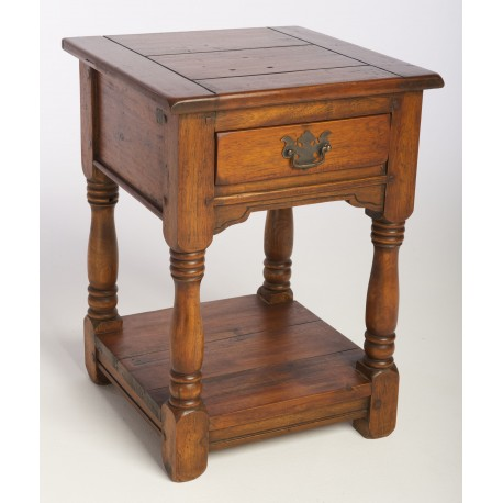 Solid Mango Wood one drawer bedside with low shelf in a dark wood rustic finish