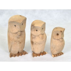 Three delighful wood owls made from solid wood with a natural finish with a large, medium and small owl