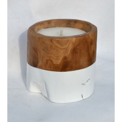 Teak candle made from reclaimed teak root with a white painted band round the bottom half