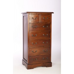 Solid mahogany tallboy chest of drawers with 2 over 5 drawers in traditional polished wood finish and brass drop handles
