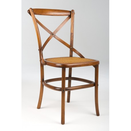 Bentwood chair made from mahogany with a rattan seat and traditional polished finish