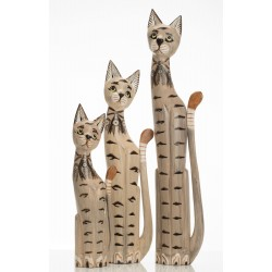 Set of 3 Large Wooden Cats with a large, medium and small cats painted white with detailing