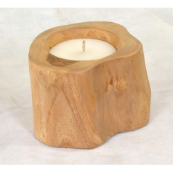 Small Outdoor Teak Candle made from teak root with white parafin wax and rope wick
