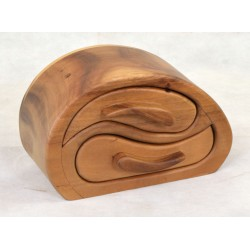 Small Wave Chest of Drawers ideal for jewellery or other small items made from albizia finished with natural wood finish