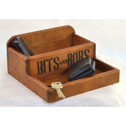 Vintage two level storage tray with Bits and Bobs printed on with a vintage wood finish