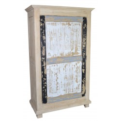 Vintage style solid wood wardrobe made from Mindi wood with a distressed painted finish