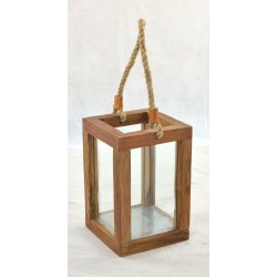 Wooden small lantern with hemp rope handle