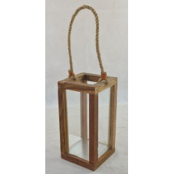 Wooden large lantern with hemp rope handle