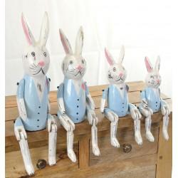 Set of 4 Blue Sitting Rabbits