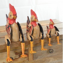 Set of 3 chickens with red combs and outstanding tail feathers to sit on a shelf with jointed legs hanging over the edge