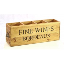 Bordeaux 4 Bottle Fine Wines Box with scalloped handles and 4 bottle compartements