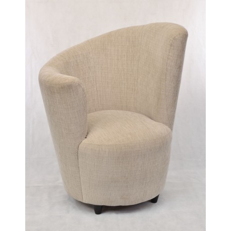 High Right Comfy Chair With A Unique Curved Design In Classic Tweed Style  Fabric And Small
