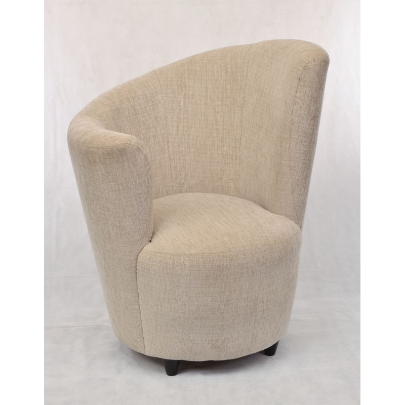 High Right Comfy Chair With A Unique Curved Design In Classic Tweed Style  Fabric And Small. Loading Zoom