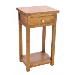Small hall table or telephone table with single drawer made from solid mango wood in tallow finish