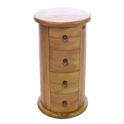 Solid Mango chest of drawers in round drum shape with four drawers with ring handles finished in a light oak finish