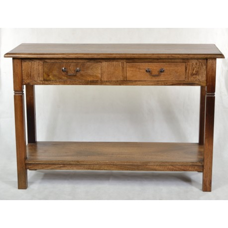 Light Mango Large Console Table with two drawers and a base level shelf  finished in a