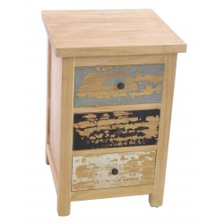 Distressed Painted 3 Drawer Bedside