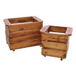 Solid Wood Planters with slatted design on castors