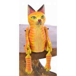 Wooden Sitting Ginger Cat with articulated arms and legs designed to sit on the edge of a shelf
