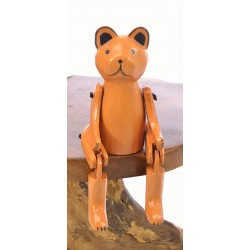 Wooden Sitting Ginger Teddy with articulated arms and legs designed to sit on the edge of a shelf