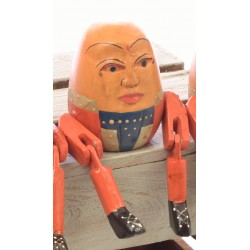 Wooden Sitting Large Sitting Humpty Dumpty with articulated arms and legs designed to sit on the edge of a shelf