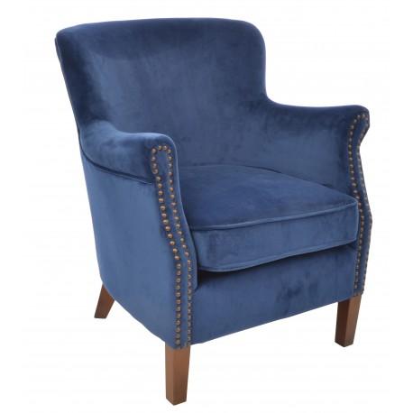 Navy Blue Velvet small armchair with a solid wood frame under the soft velvet upholstery