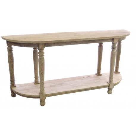 Long console table or side board with a natural unfinished look and turned legs with a full length low shelf