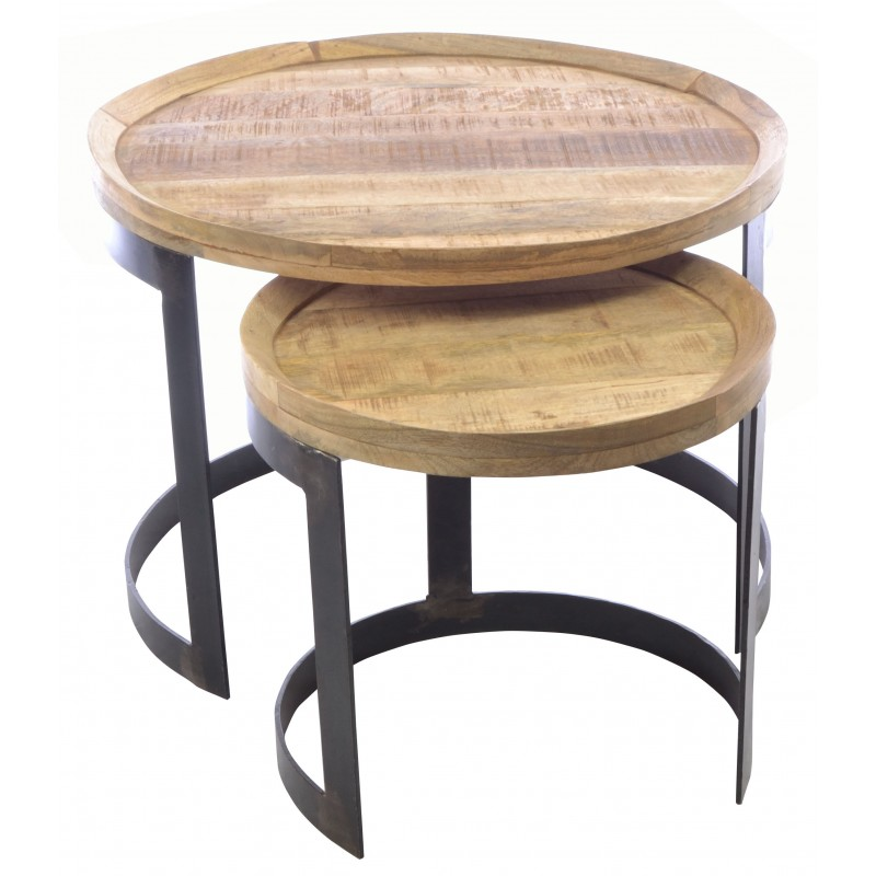 Old empire round nest of tables industrial stlye metal and wood two table nest with round tables and curved stand loading zoom watchthetrailerfo