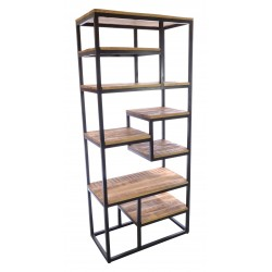 Industrial style meta land wood open bookcase with a selection of different sized fixed shelves