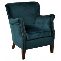 Blue Velvet small armchair with a solid wood frame under the soft velvet upholstery
