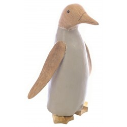 Large Penguin with a light grey painted body and plain wood head, wings and feet made from bamboo