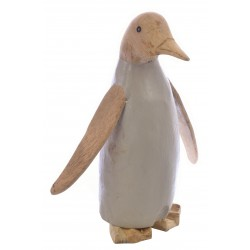 Medium Penguin with a light grey painted body and plain wood head, wings and feet made from bamboo