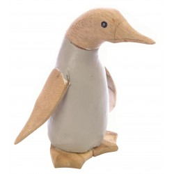 Small Penguin with a light grey painted body and plain wood head, wings and feet made from bamboo
