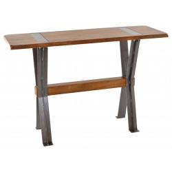 Cross legged side table with solid mango wood top and braced metal legs