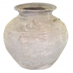 Small ceramic pot with a rustic weathered finish and wide amphora shape