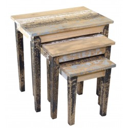 Nest of Tables with three tables finished in a distressed painted finish of different coloured paints
