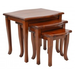 Pacific Nest of Tables made from solid mahogany with gentle curved legs and polished finish