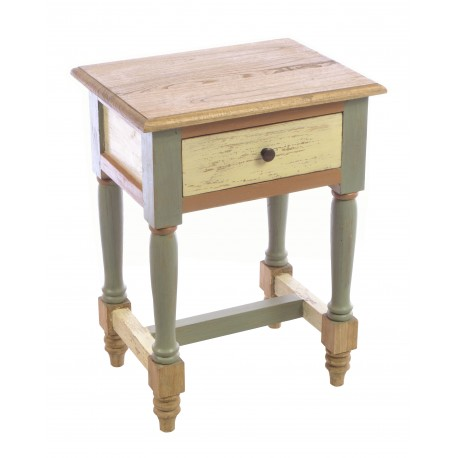 Solid Wood lamp table or side table with a single drawer and turned braced legs in a distressed painted finish