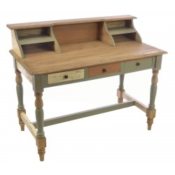 Solid Wood Desk with organising shelves in a natural wood and painted distressed finish